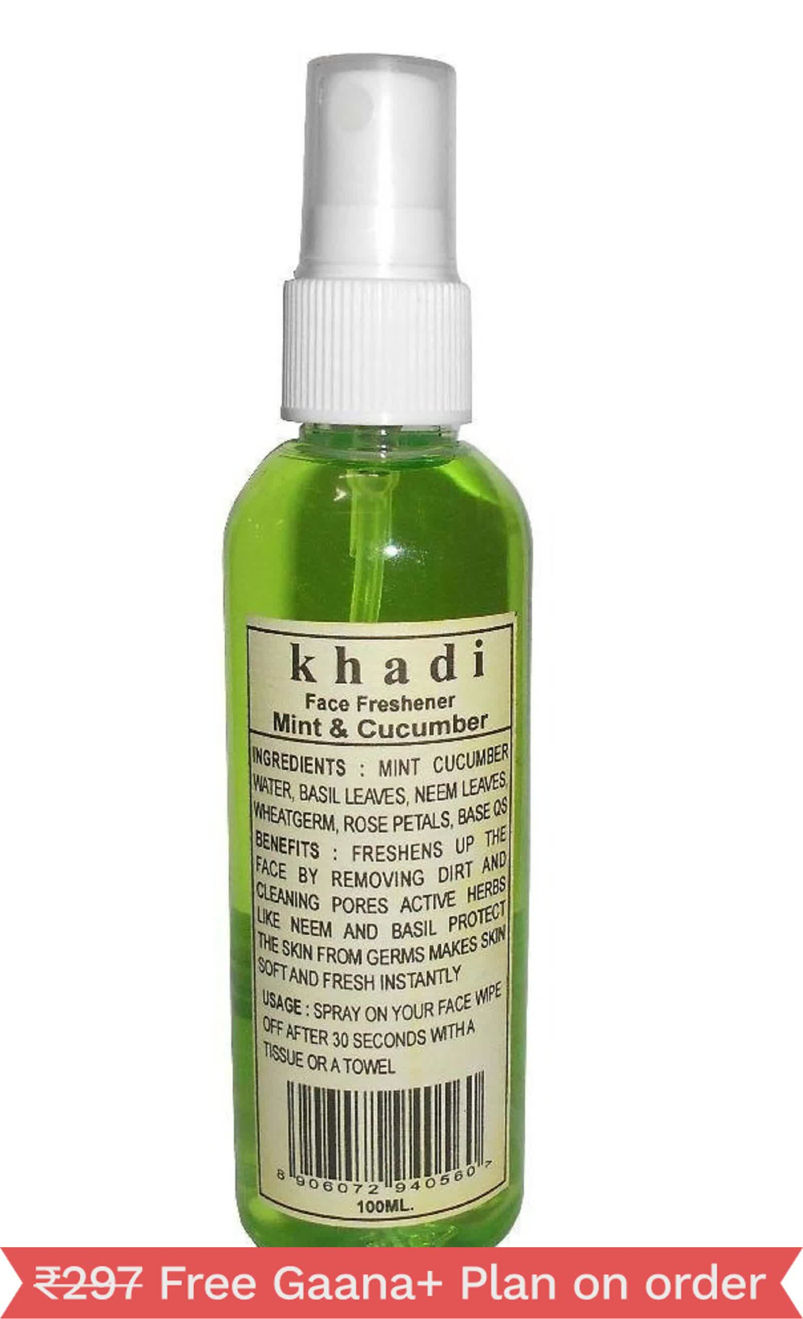 Khadi Herbal Ayurvedic Mint And Cucumber Face Freshner (100ml each, Pack of 2)
