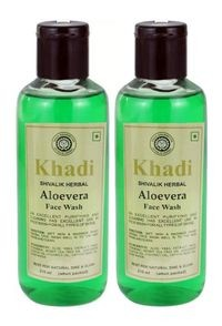 Khadi herbal Aloevera, 210ml Face Wash - Pack of 2