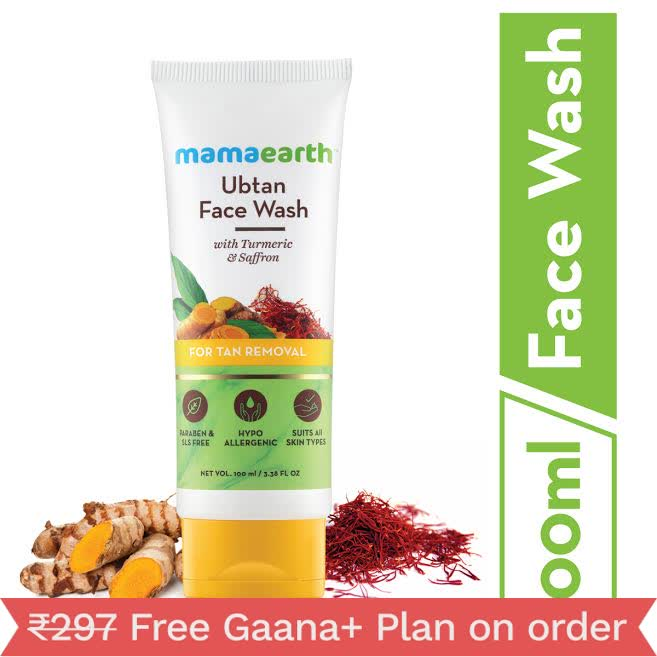 Mamaearth Ubtan Natural Face Wash For Dry Skin With Turmeric & Saffron For Tan Removal And Skin Brightning