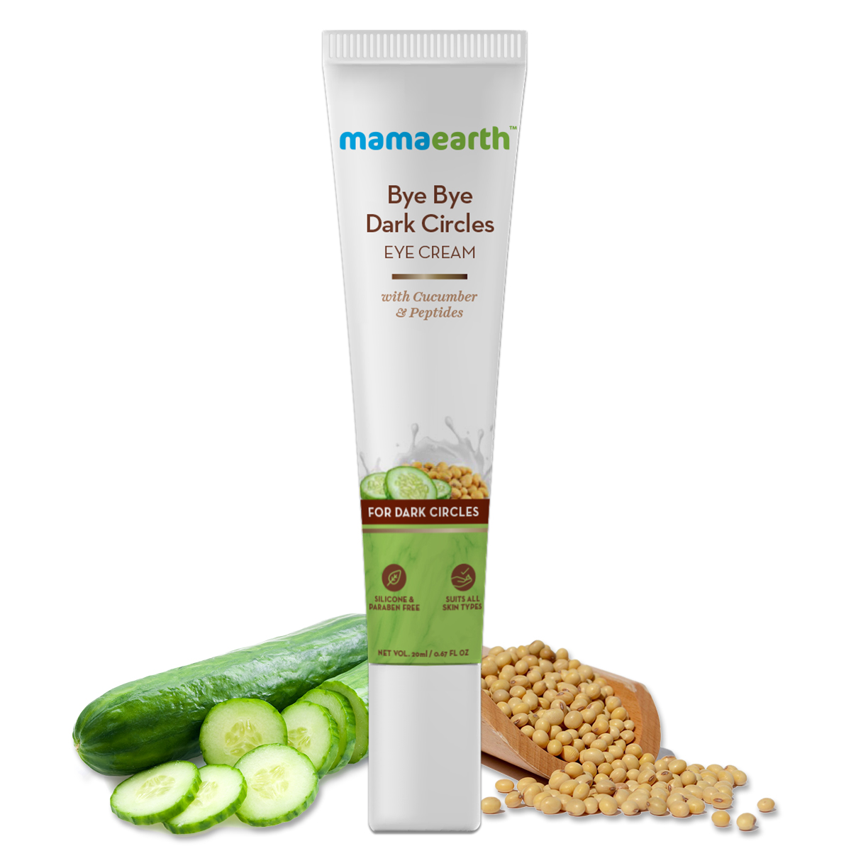 MamaearthBye Bye Dark Circles, Under Eye Cream for Dark Circles, with Cucumber & Peptides - 20ml