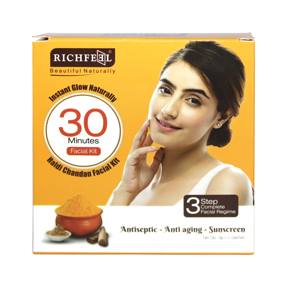 Richfeel Haldi Chandan Facial Kit-  pack of 3 - One time use facial kit with scrub, cream and face pack