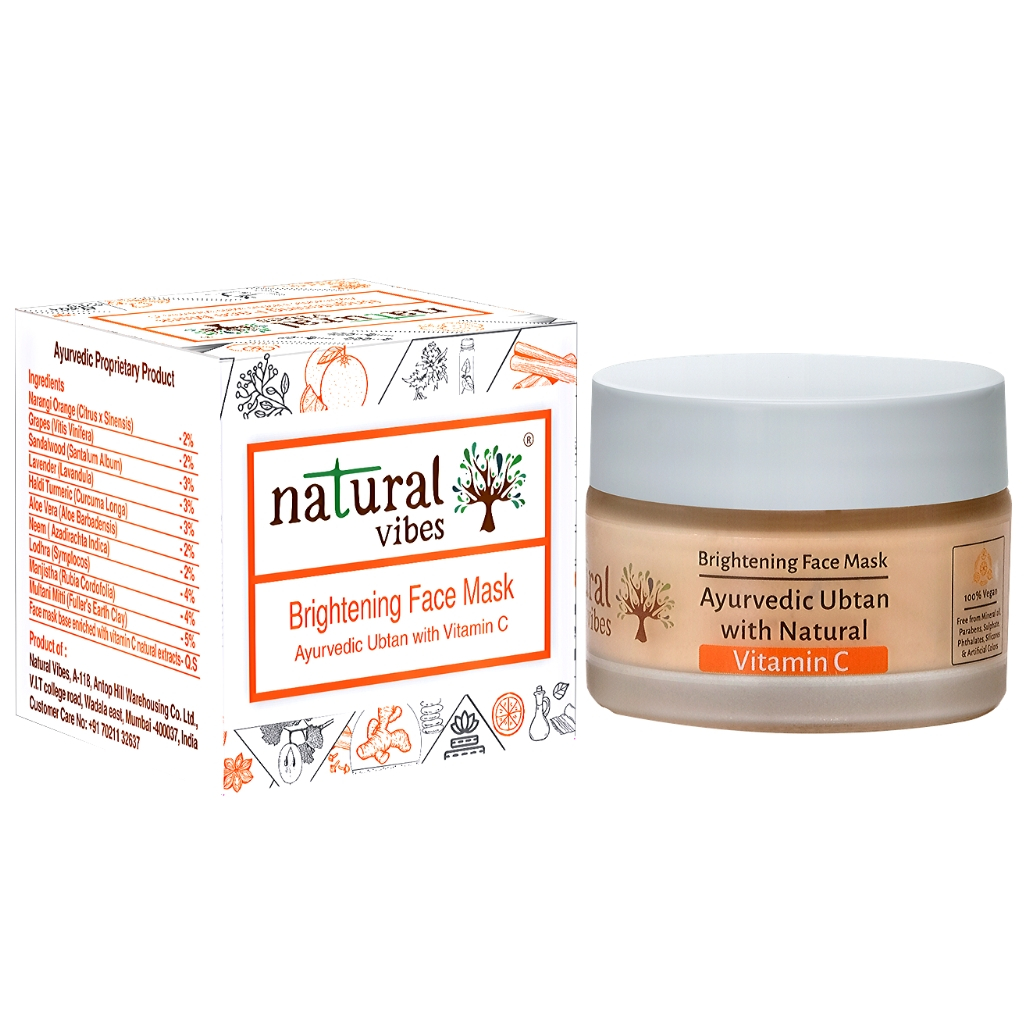 Natural Vibes ~ Ayurvedic Vitamin C Brightening Face Mask/Pack 50g ~ Fights premature signs of ageing, reduces pigmentation and improves overall complexion