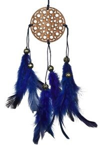 Rooh Dream Catcher ~ Carved Blue Car Hanging ~ Handmade Hangings For Positivity