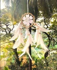 Rooh Dream Catcher ~ White Crochet Flower Car Hanging ~ Handmade Hangings For Positivity