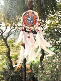 Rooh Dream Catcher ~Multi Colour Om Canvas Car Hanging ~ Handmade Hangings For Positivity