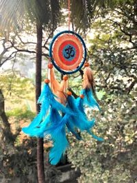 Rooh Dream Catcher ~ Kesari Om Canvas Car Hanging ~ Handmade Hangings For Positivity