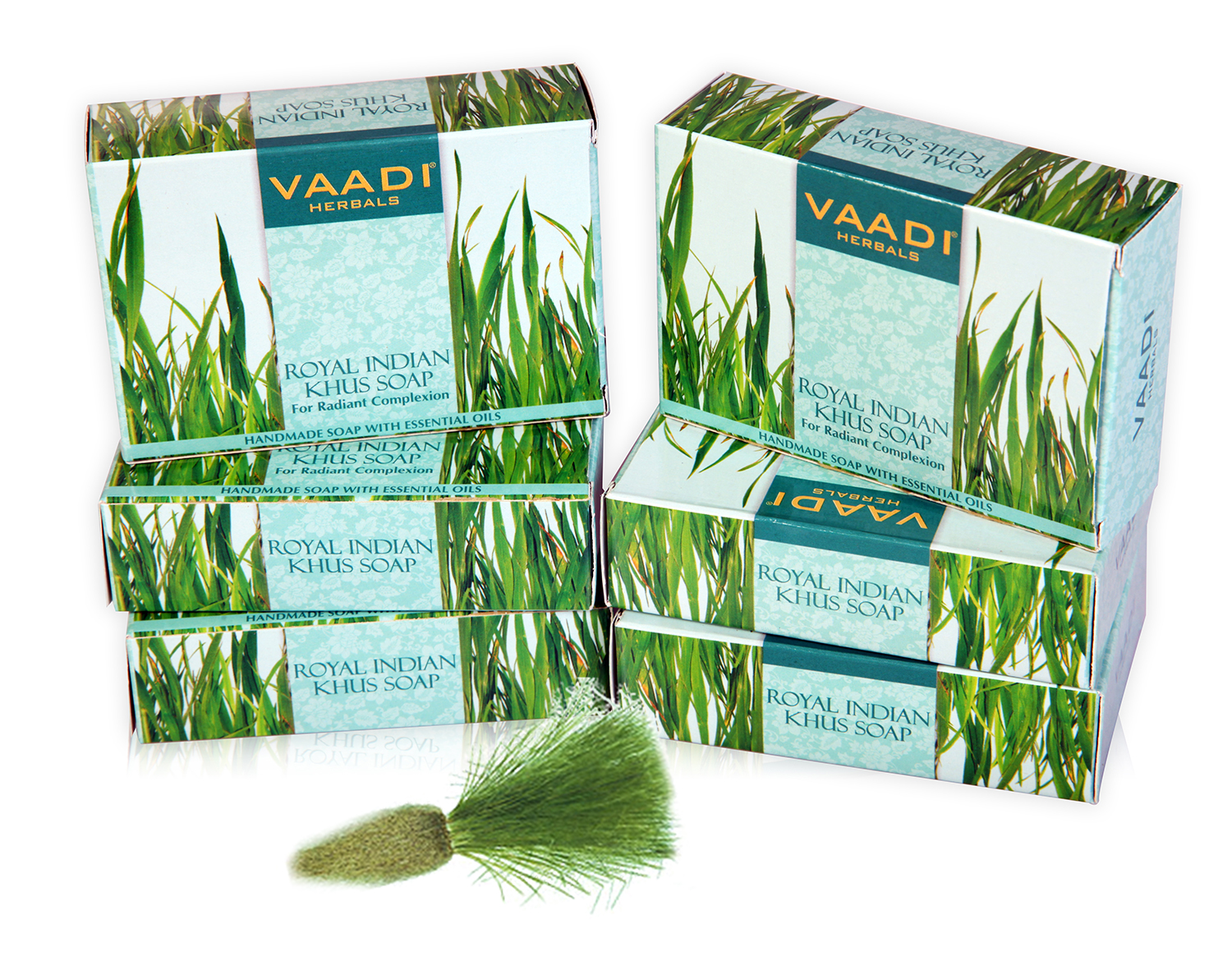 Vaadi Herbal Royal Indian Khus Soap With Olive & Soyabean Oil (5 + 1 Free)