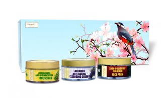 Vaadi Herbals Exotic Radiance Skin Care Herbal Gift Set (Cherry Tree With Beautiful Sparrow)