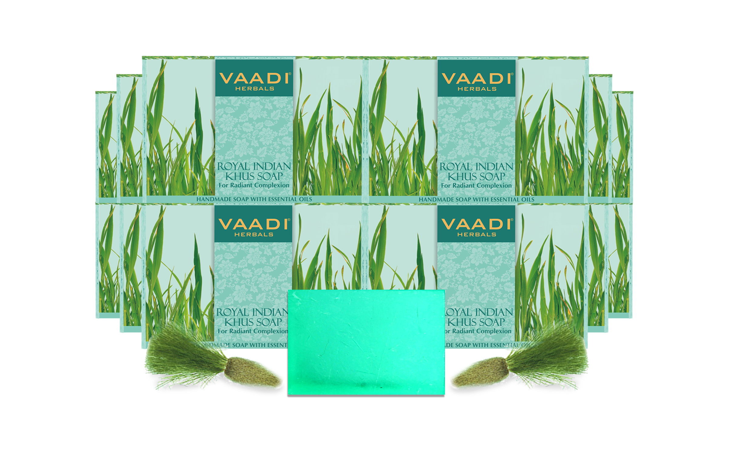 Vaadi Herbal Royal Indian Khus Soap With Olive & Soyabean Oil (12 X 75 Gms)