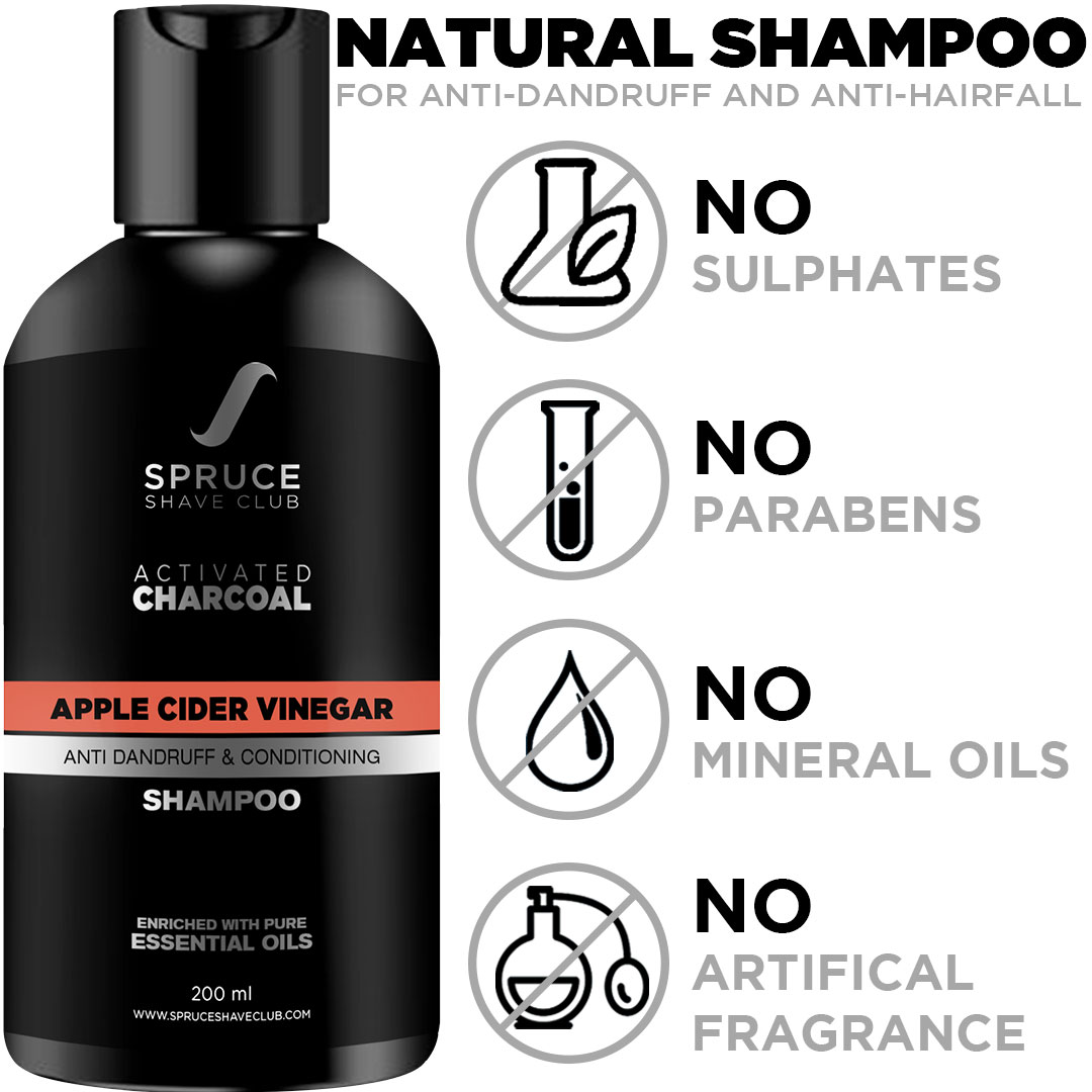 Spruce Shave Club Anti Dandruff Charcoal Shampoo For Men with Apple Cider Vinegar | Sulfate & Paraben Free
