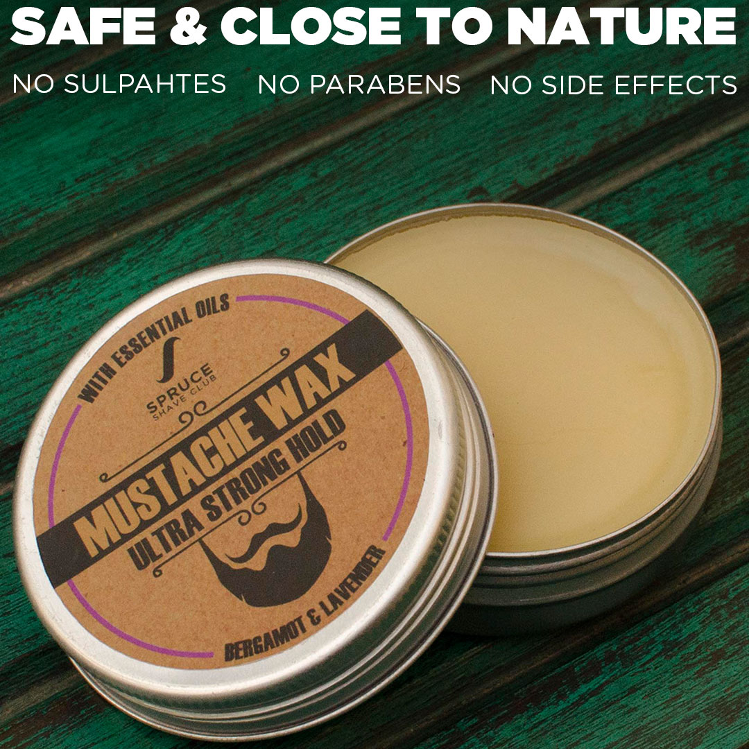 Spruce Shave Club Beard & Moustache Wax | Ultra Strong Hold | Natural Wax | Bergamot & Lavender