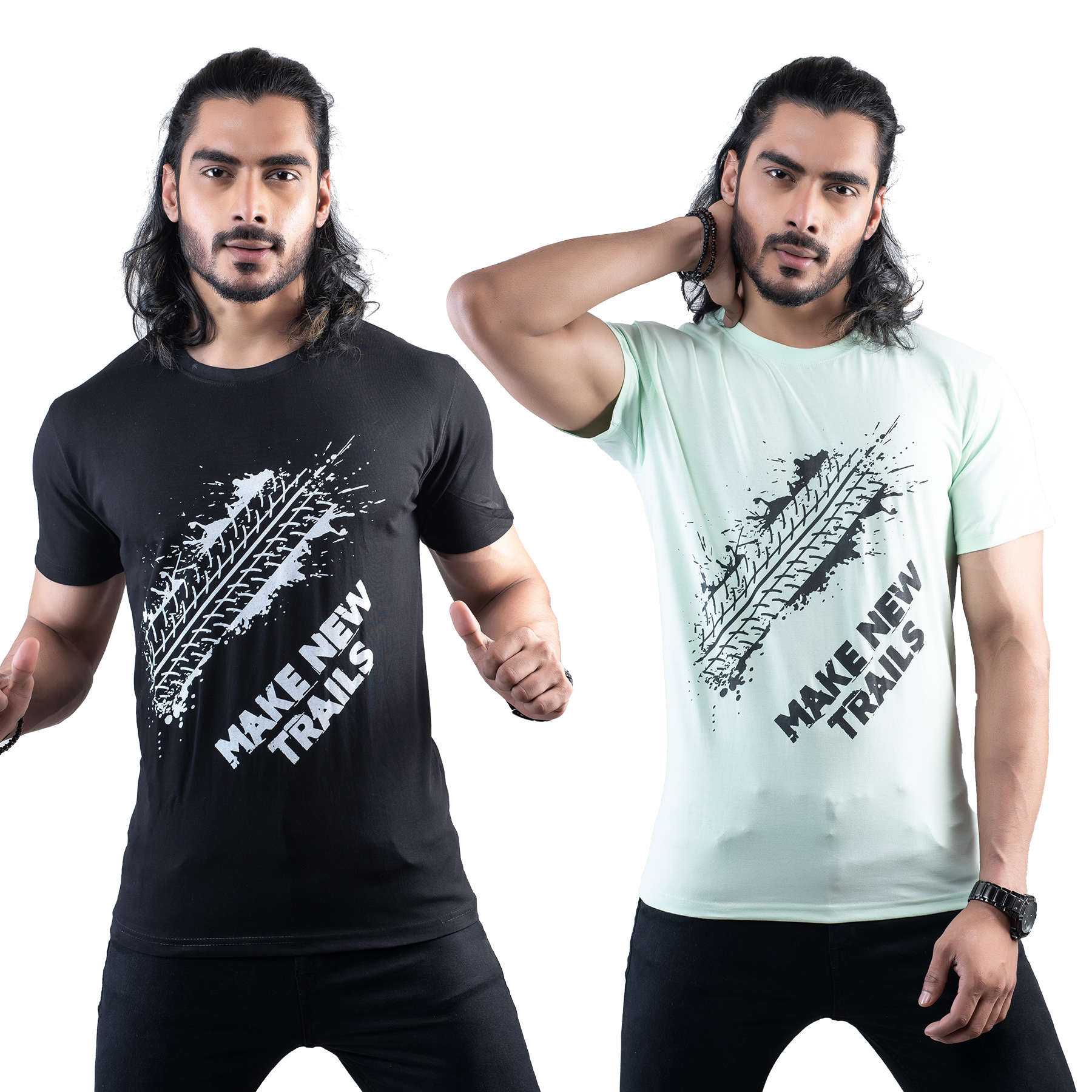 Tuedd Men's Half Sleeves Round Neck Regular Fit Premium Cotton 2 Units Combo Printed Black And Mint Green T-Shirts(Pack of 2)