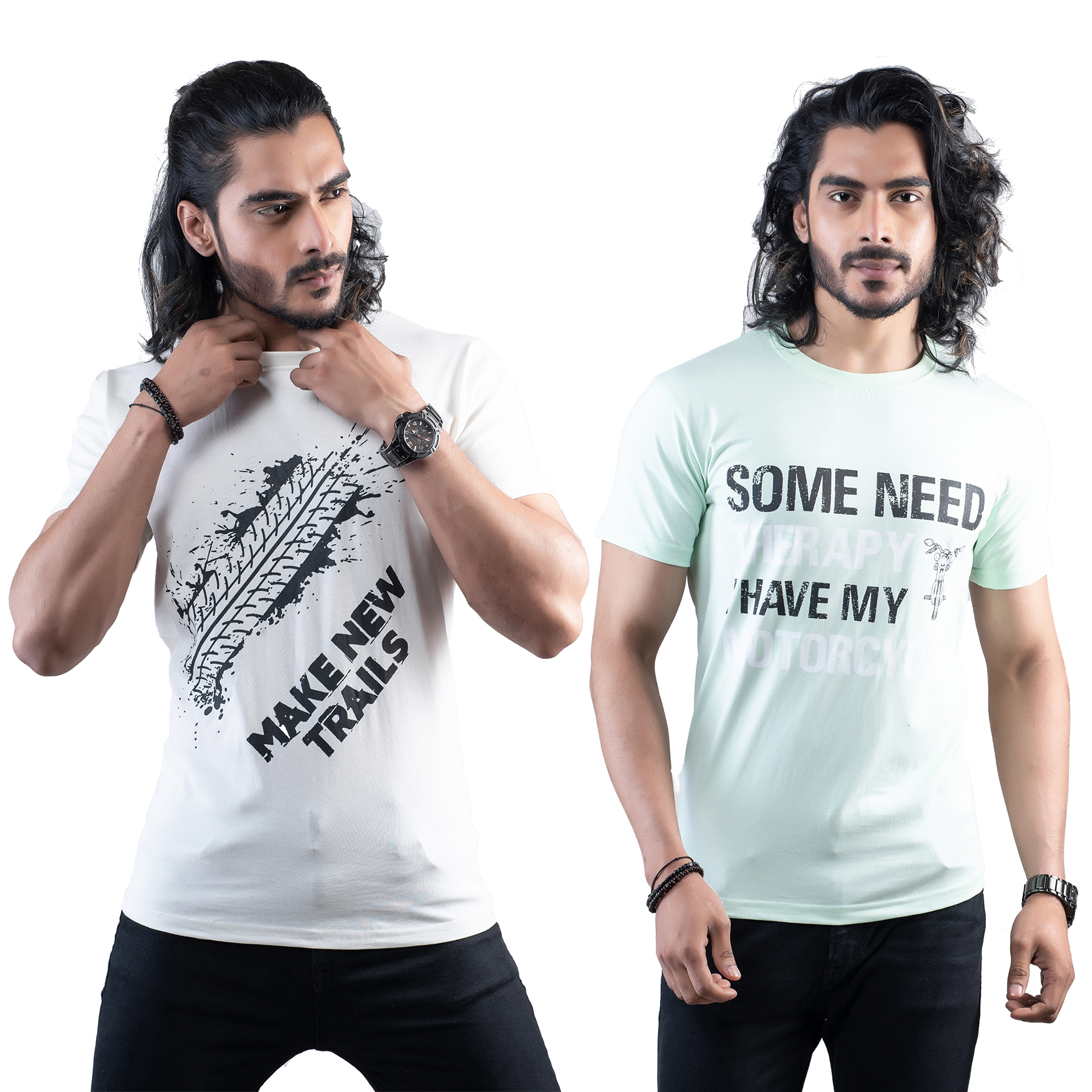 Tuedd Men's Half Sleeves Round Neck Regular Fit Premium Cotton Combo Printed Off White And Mint Green T-Shirts(Pack of 2)