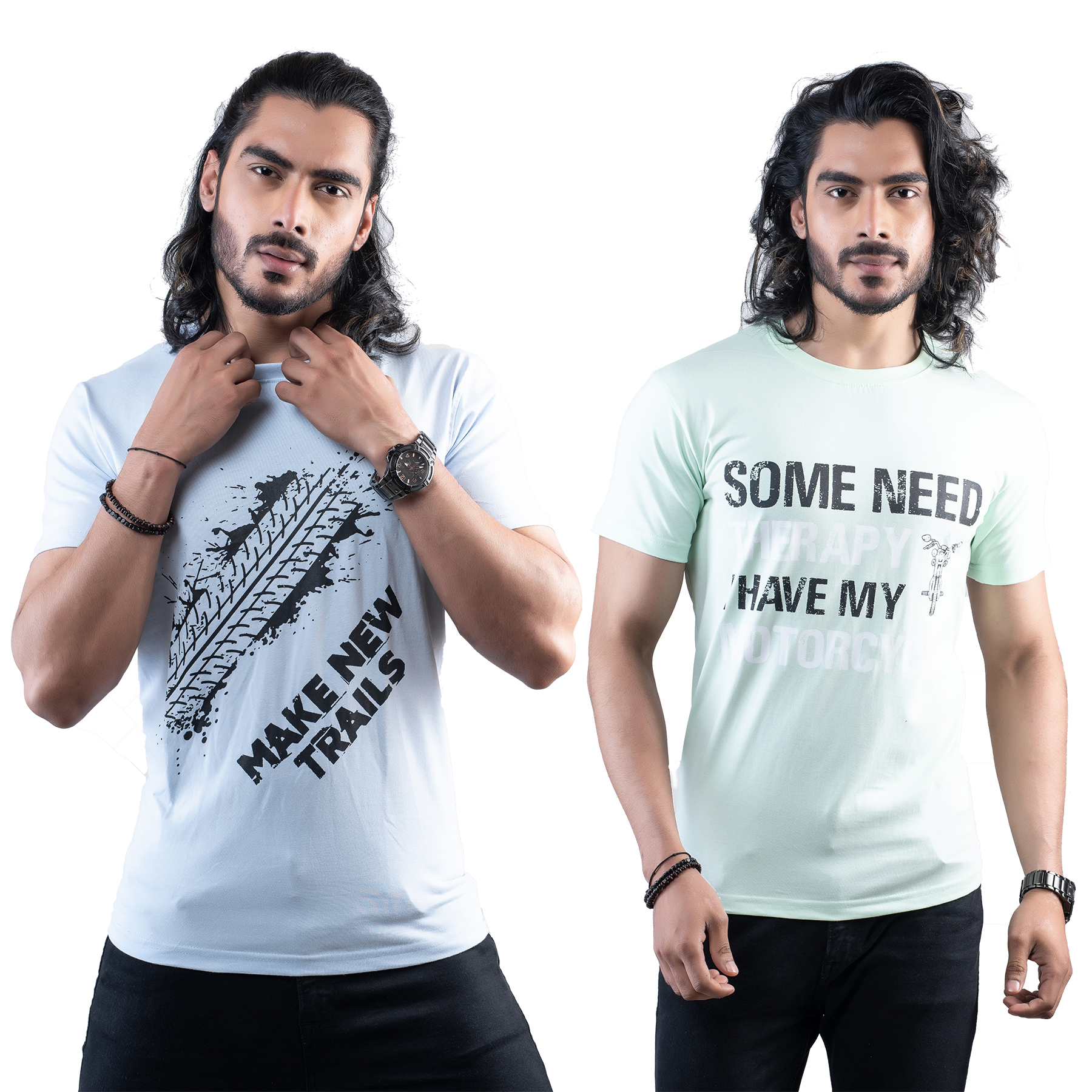 Tuedd Men's Half Sleeves Round Neck Regular Fit Premium Cotton Combo Printed Sky Blue And Mint Green T-Shirts(Pack of 2)