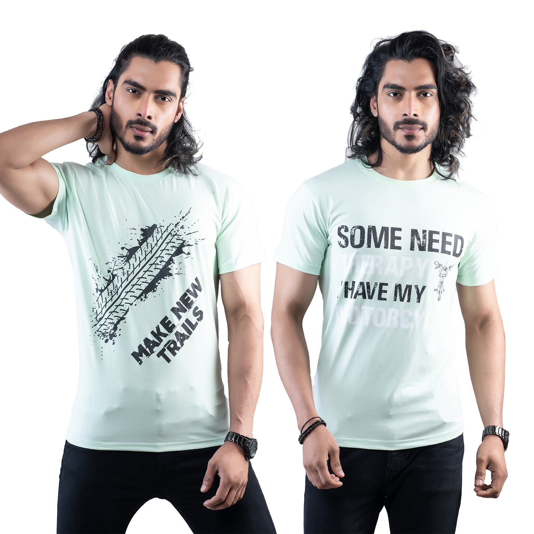 Tuedd Men's Half Sleeves Round Neck Regular Fit Premium Cotton Combo Printed Mint Green And Mint Green T-Shirts(Pack of 2)