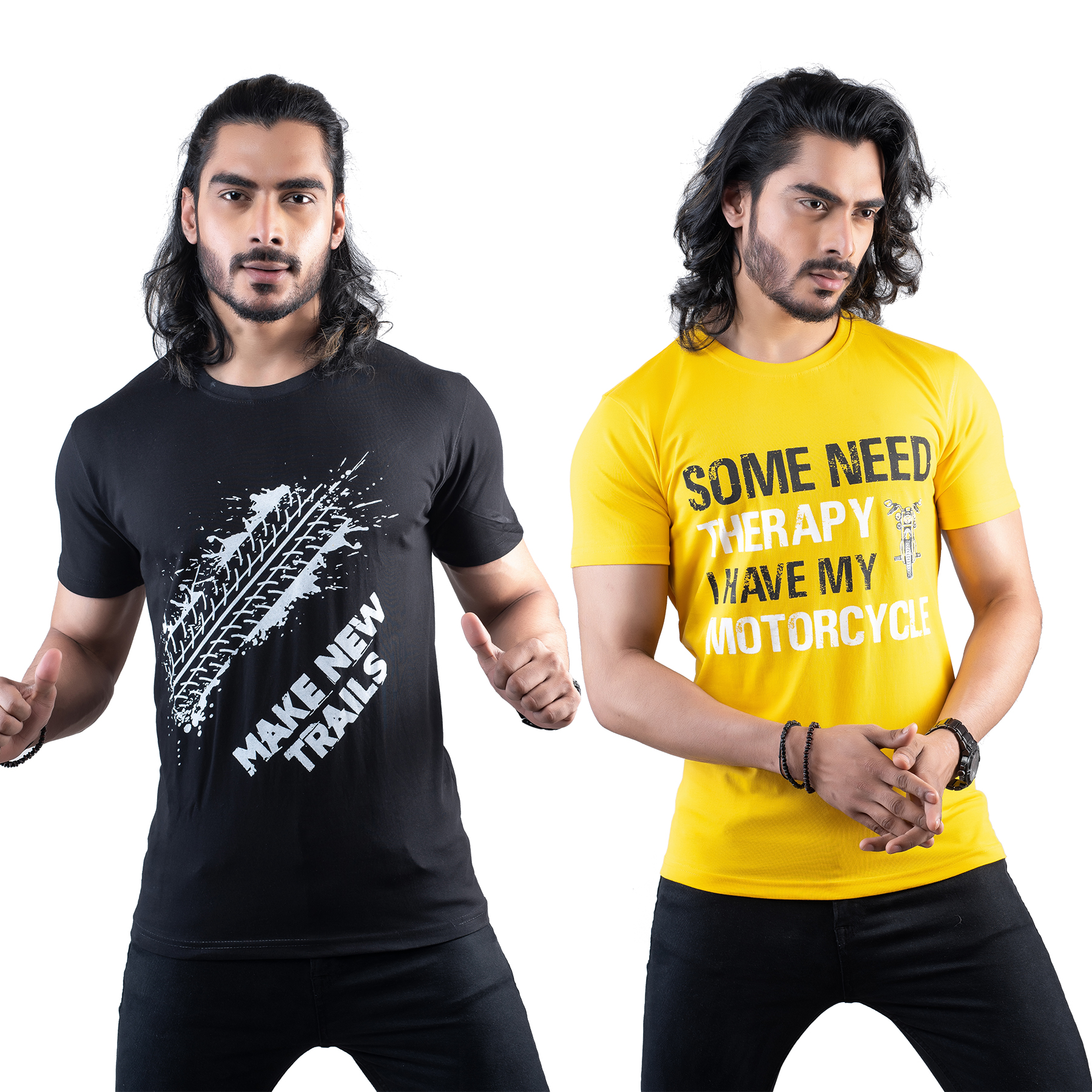 Tuedd Men's Half Sleeves Round Neck Regular Fit Premium Cotton Combo Printed Black And Mustard T-Shirts(Pack of 2)
