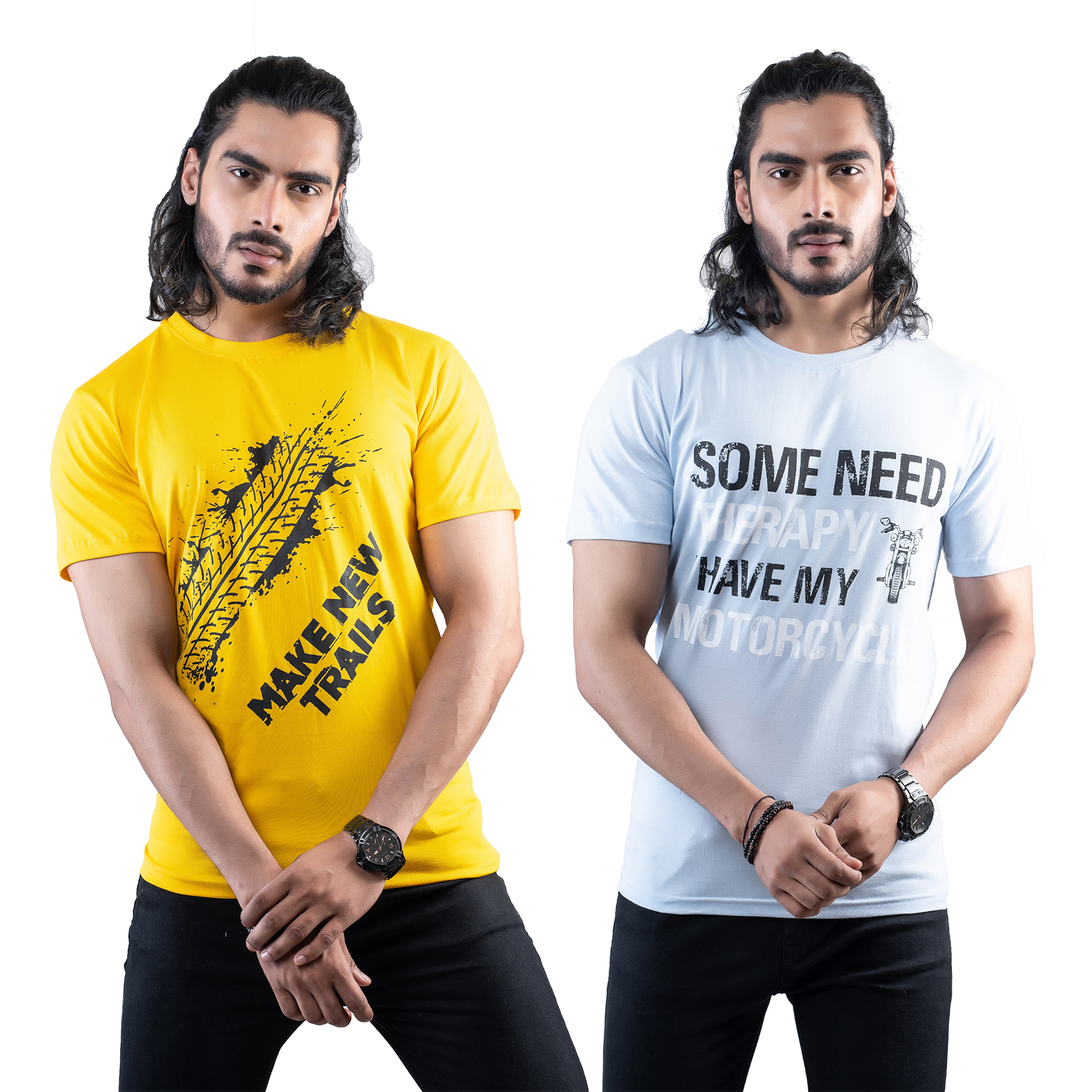 Tuedd Men's Half Sleeves Round Neck Regular Fit Premium Cotton Combo Printed Mustard And Sky Blue T-Shirts(Pack of 2)