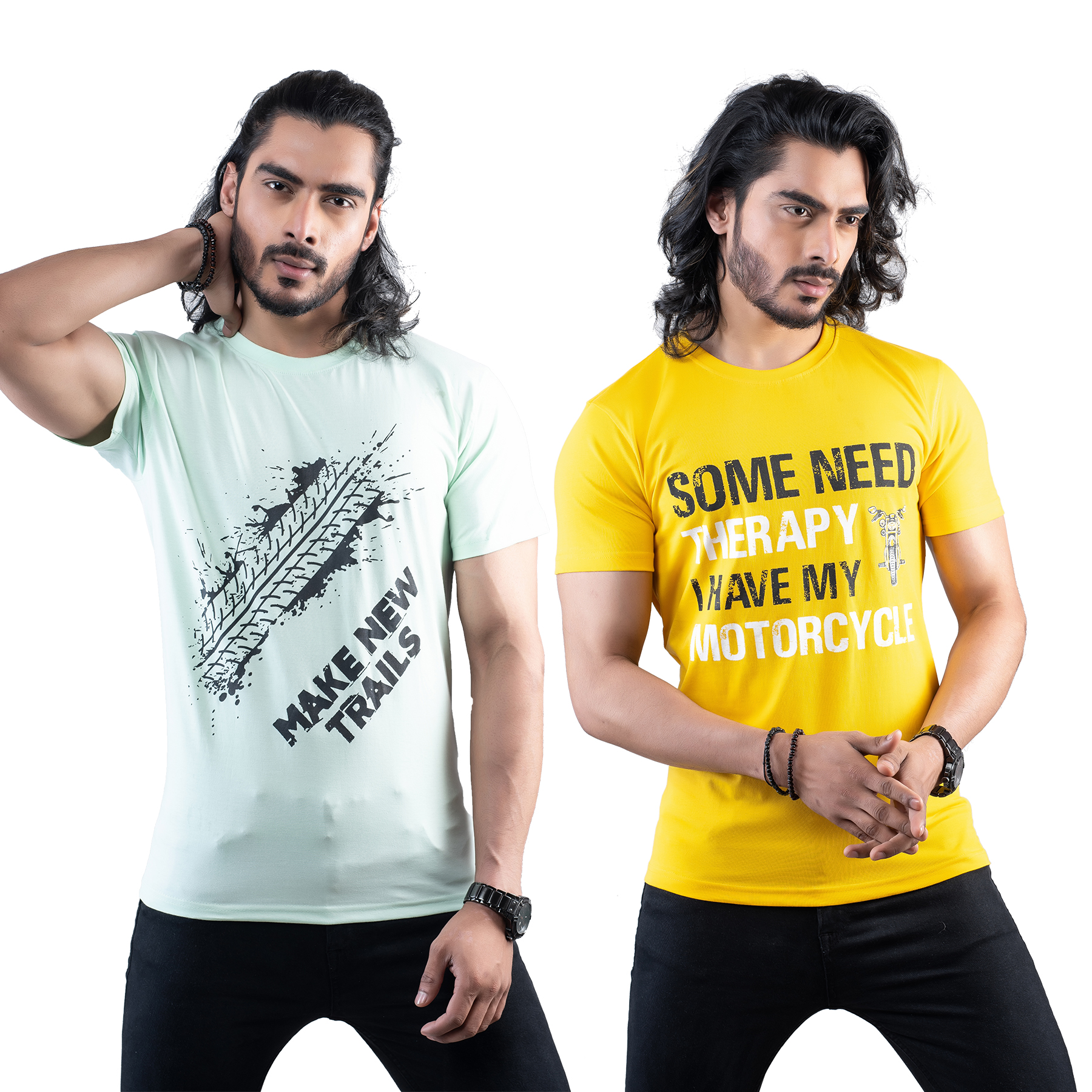 Tuedd Men's Half Sleeves Round Neck Regular Fit Premium Cotton Combo Printed Mint Green And Mustard T-Shirts(Pack of 2)