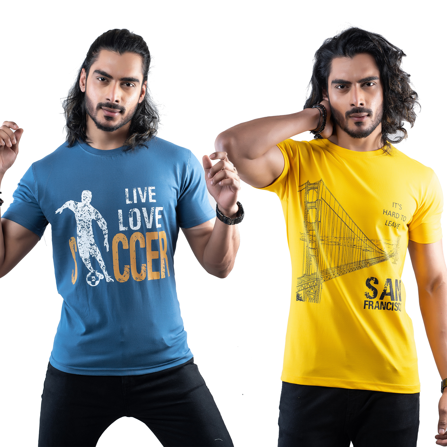 Tuedd Men's Half Sleeves Round Neck Regular Fit Premium Cotton Combo Printed Dark Blue And Mustard T-Shirts(Pack of 2)