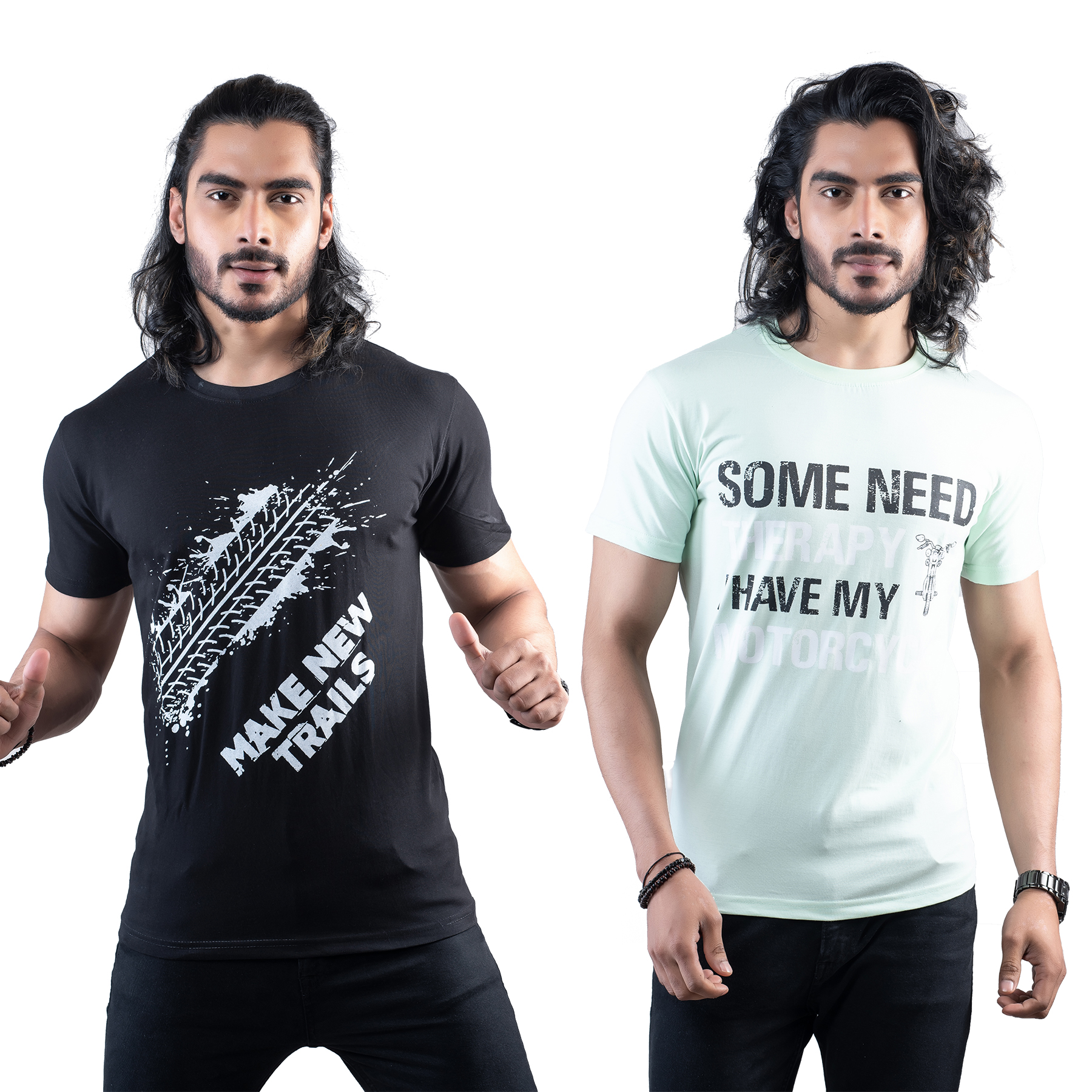 Tuedd Men's Half Sleeves Round Neck Regular Fit Premium Cotton Combo Printed Black And Mint Green T-Shirts(Pack of 2)