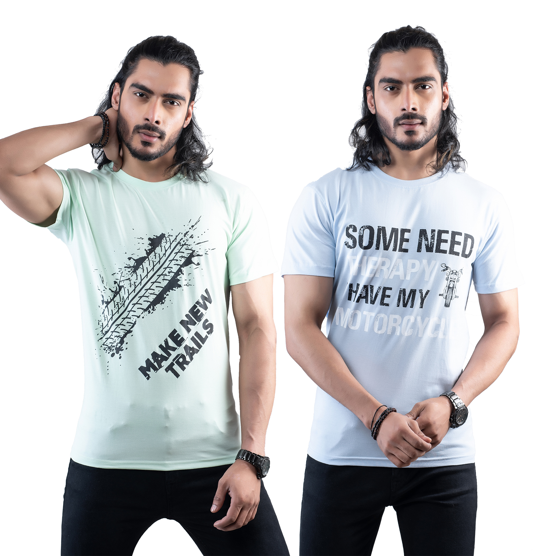 Tuedd Men's Half Sleeves Round Neck Regular Fit Premium Cotton Combo Printed Mint Green And Sky Blue T-Shirts(Pack of 2)