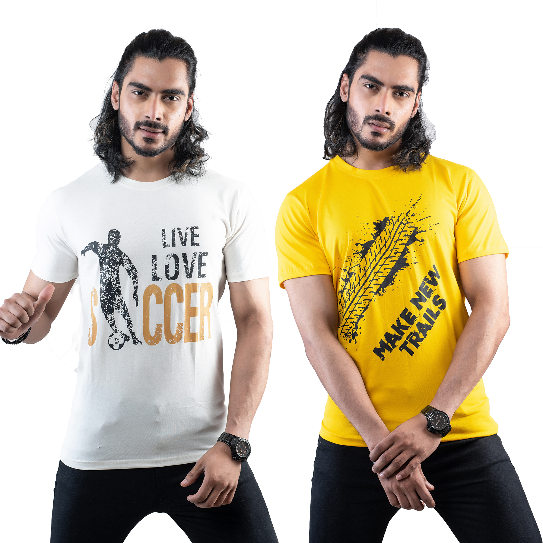 Tuedd Men's Half Sleeves Round Neck Regular Fit Premium Cotton Combo Printed Off White And Mustard T-Shirts(Pack of 2)