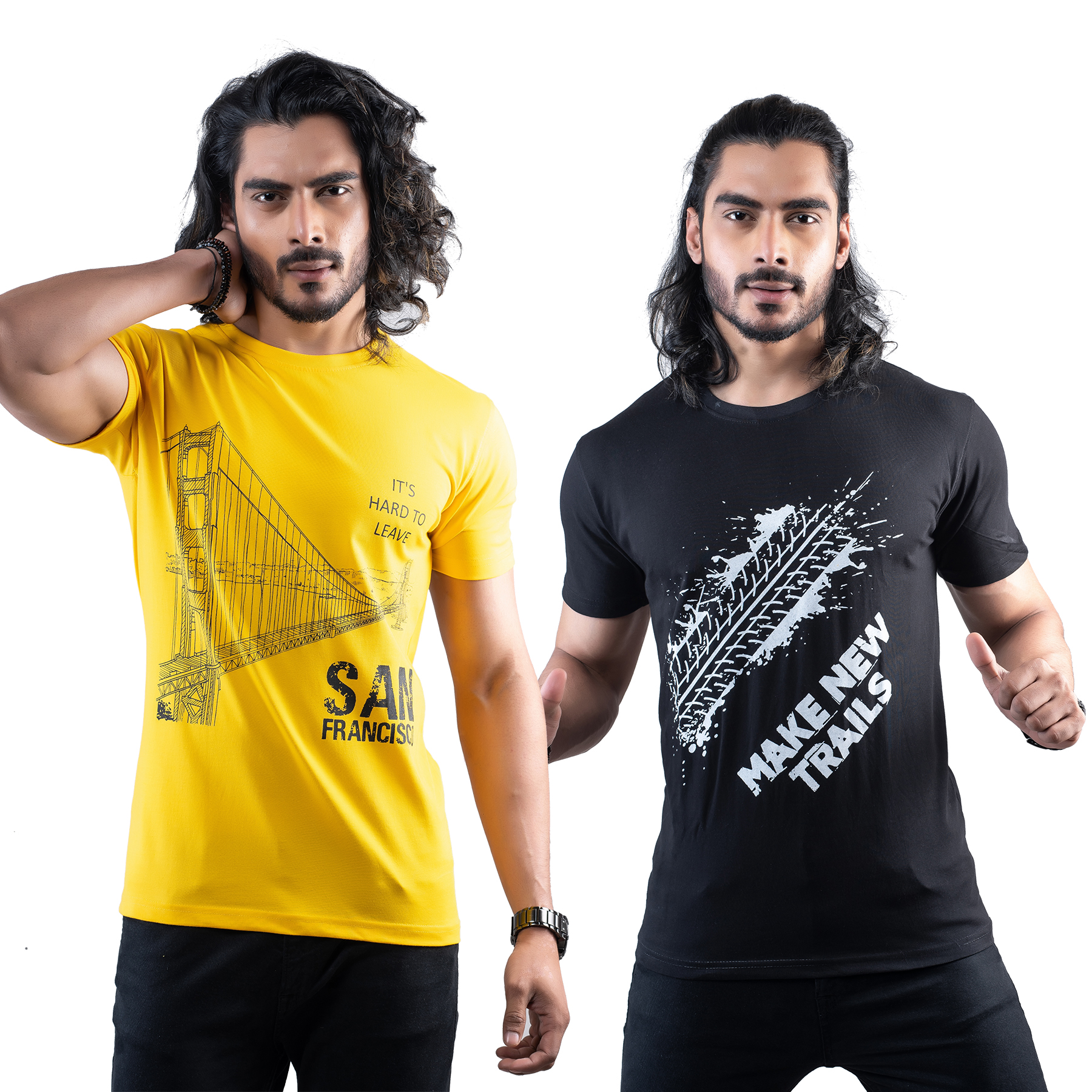 Tuedd Men's Half Sleeves Round Neck Regular Fit Premium Cotton Combo Printed Mustard And Black T-Shirts(Pack of 2)