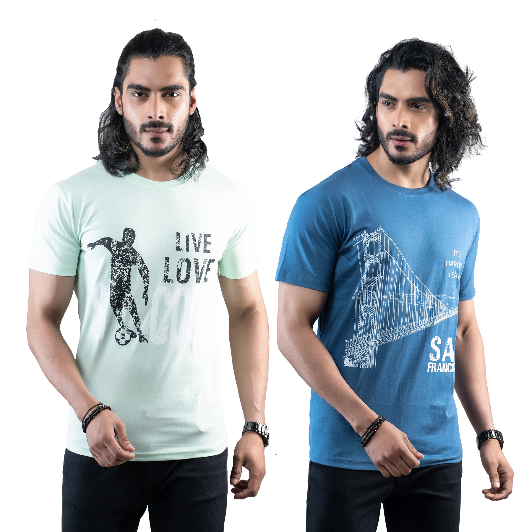 Tuedd Men's Half Sleeves Round Neck Regular Fit Premium Cotton Combo Printed Mint Green And Dark Blue T-Shirts(Pack of 2)