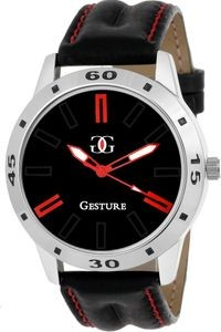Gesture Black Leather Round Analog watch For Men