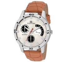 Gesture Silver Leather Round Analog watch For Men