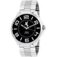 Polo Hunter Black Leather Round Analog watch For Men