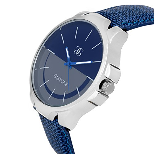 Gesture Blue Leather Round Analog watch For Men