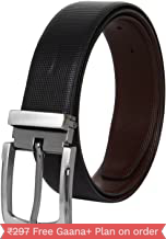 Amicraft Black Leather Belt-Revirseble For Men