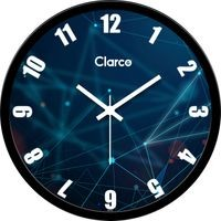 Clarco Designer Analogue Round Glass Wall Clock with 1 Year Warranty And 2 FREE AA Battery, Size(30 cm x 30 cm x 4 cm)(WL_703L)
