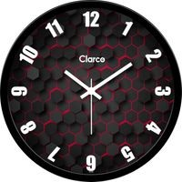 Clarco Designer Analogue Round Glass Wall Clock with 1 Year Warranty And 2 FREE AA Battery, Size(30 cm x 30 cm x 4 cm)(WL_704L)