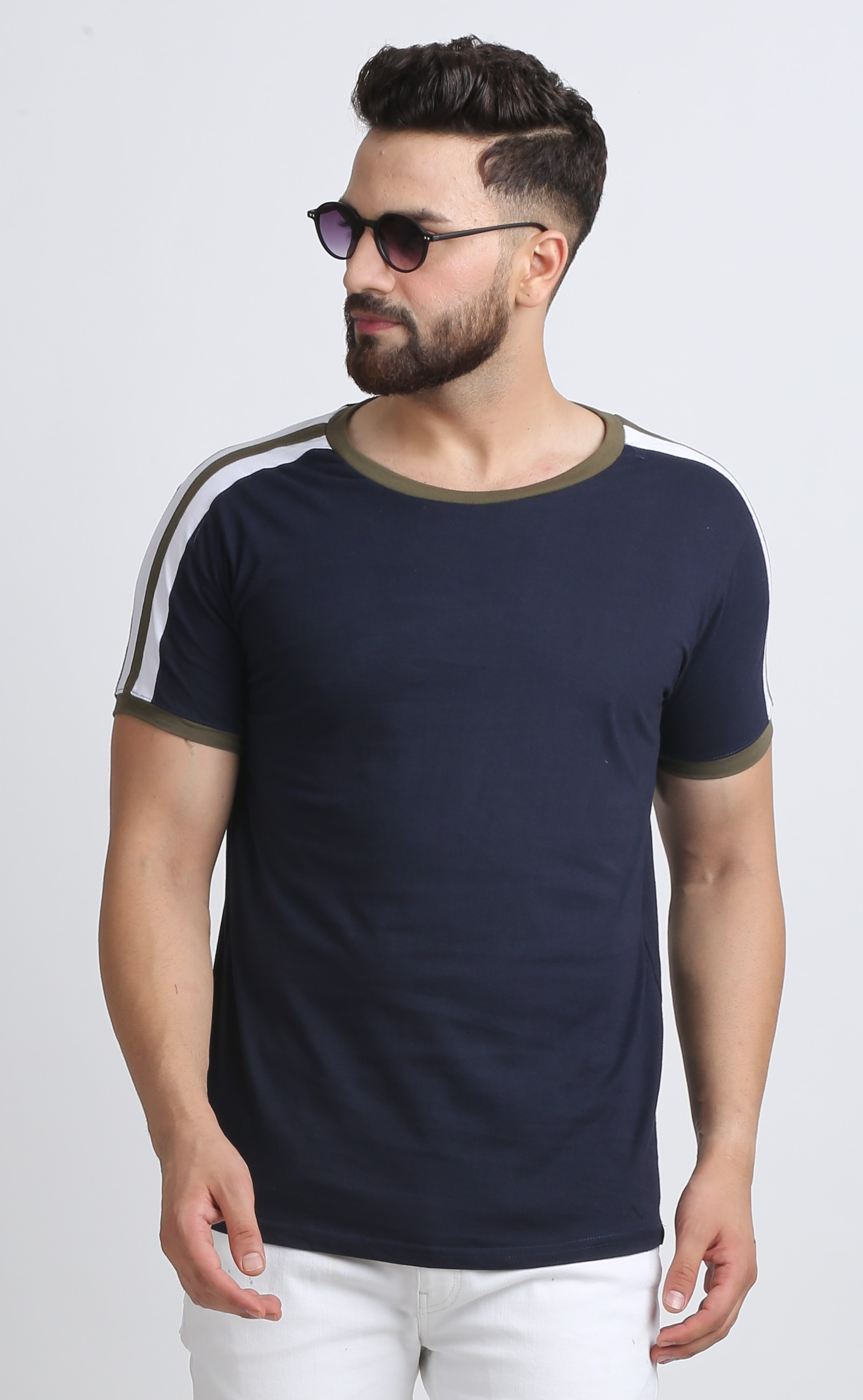 Leotude Navy Cotton Round Neck T-shirt for Men