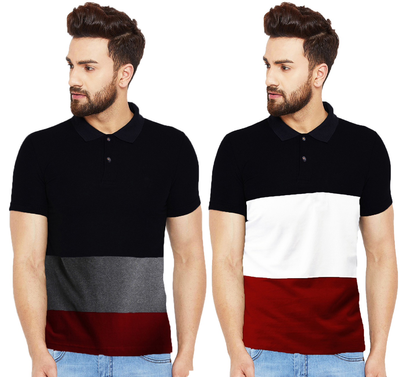 Leotude Multicolor Cotton Polo Neck T-shirt for Men