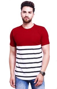 Leotude Maroon Cotton Round Neck T-shirt for Men