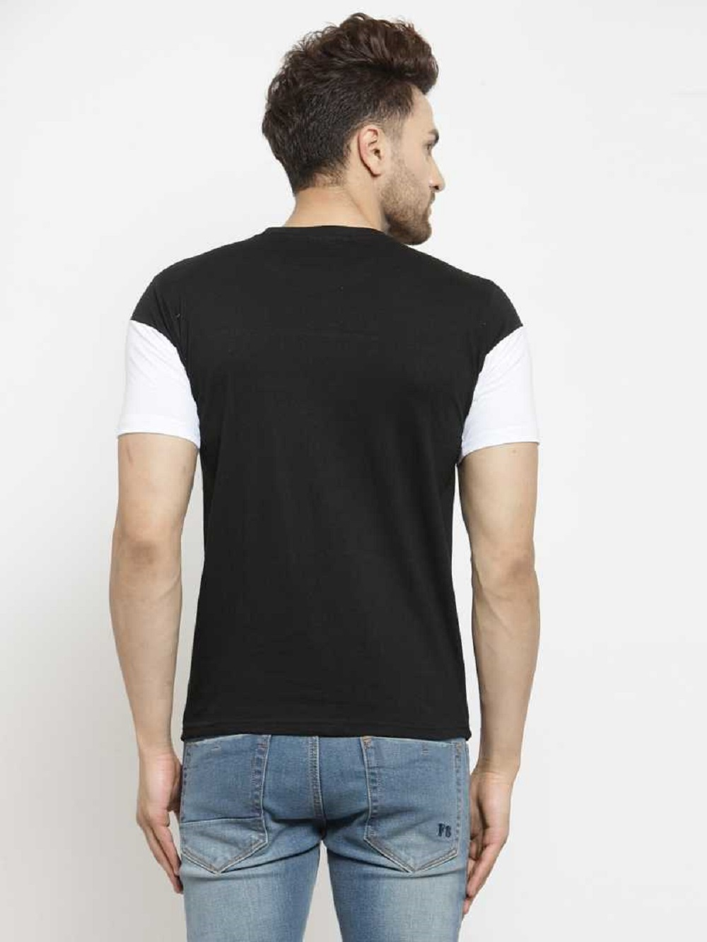 Leotude Black Cotton Round Neck T-shirt for Men