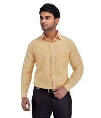 KHADIO Beige Full Sleeves Cotton Regular Fit Shirt