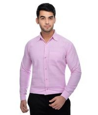 KHADIO Pink Full Sleeves Cotton Regular Fit Shirt