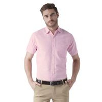 KHADIO Pink Half Sleeves Cotton Regular Fit Shirt