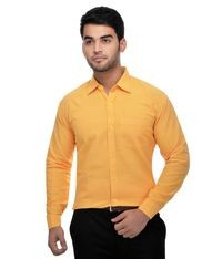 KHADIO Yellow Full Sleeves Cotton Regular Fit Shirt