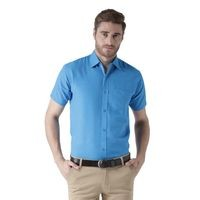 KHADIO Blue Half Sleeves Cotton Regular Fit Shirt
