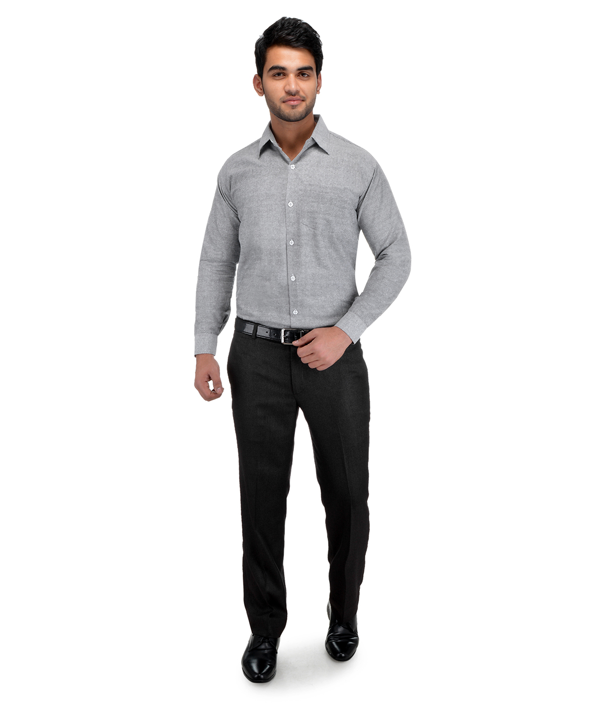 KHADIO Grey Full Sleeves Cotton Regular Fit Shirt