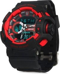 Skmei Red Dial Black Strap Analog-Digital Watch For Men