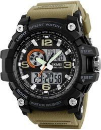 Skmei Black Dial Khaki Strap Analog-Digital Watch For Men
