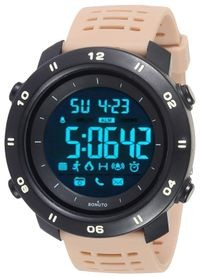 Sonuto Black Dial Beige Strap Digital Watch For Men