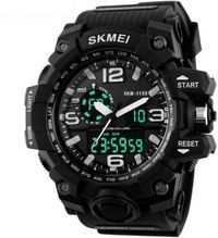 Skmei Black Dial Black Strap Analog-Digital Watch For Men