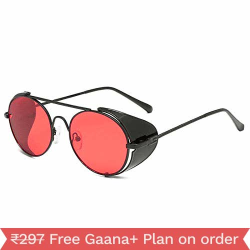 Arzonai Red Steampunk Metal Sunglasses For Men And Women